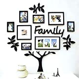 Paper Plane Design Family Tree Wooden Photo Frame (125 cm x 2 cm x 115 cm, Black, Set of 13)