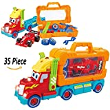 Toys Bhoomi 35 Piece Take Apart Carrier Tool Box With Racing Car Toy Vehicle Truck With Lights And Sounds For Kids Cars Playing (661-194)