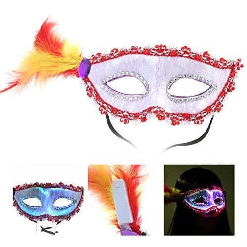 Umiwe LED Glow Lace Maske, Sexy Masquerade 7 Farbe Luminous Leuchten Gesichtsmaske mit Diamante & USB Wiederaufladbare Mysterious DJ Rave Prom Opera Party Augenmaske für Karneval Make Up