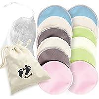 Paquete de 12 - Calidad Premium, Almohadillas Discos de Lactancia de Bambú Orgánico - Lavables y Reutilizables – Hipoalergénicas, Fácil de Lavar, Ultra Absorbente, Super Suave y Cómodo - A Prueba de Derrames - Completo con bolsa de lavandería gratuita - Regalo perfecto para Nueva Mama y Baby Shower