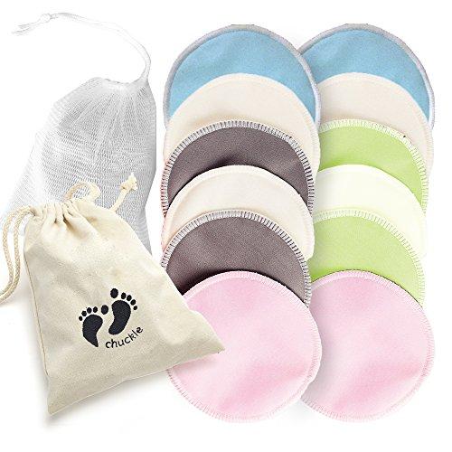 12 Premium Almohadillas de Lactancia de Bambú Orgánico - Discos Lactancia Lavables Reutilizables - Ultra Absorbente, Super Suave y Hipoalergénico con Bolsa de Lavandería| Nueva Mama, Baby Shower.