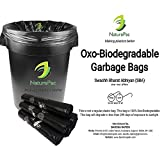 #7: Garbage bags biodegradable premium small size Black 43 cm x 51 cm,Trash bags/Dustbin bags/Garbage Bin Liners/100% biodegradable tested garbage bags (180 bags) by NATUREPAC