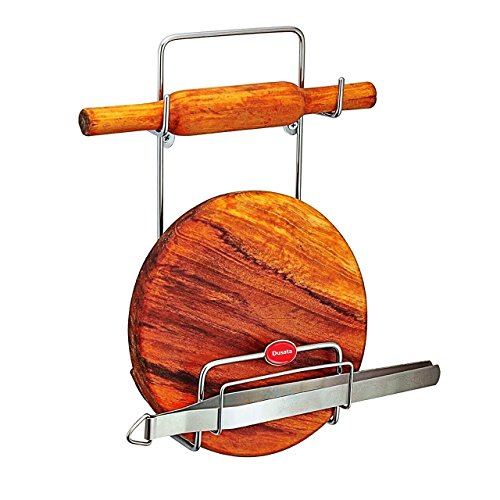 Dusata Original Chakla Belan Stand for Kitchen – 100% Rust-Free Stainless Steel Rolling Pin Board Holder Wall Mount