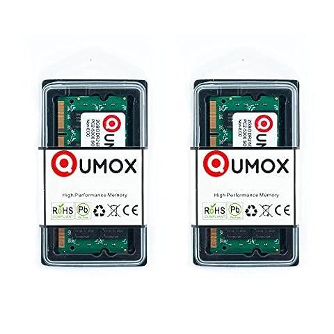 QUMOX @ 2x 2GB 4GB DDR2 667MHz PC2-5400 PC2-5300 (200 PIN) SODIMM Laptop-Speicher