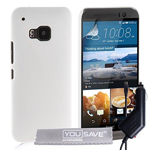 Yousave Accessories® Cover per HTC One (M9) 2015 Custodia Duro Ibrido Bianco con Caricabatteria da Auto