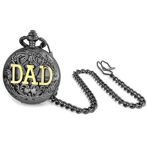 Bling Jewelry Large DAD Gold Plated Shiny Simulated Quartz Mens Pocket Watch Gunmetal