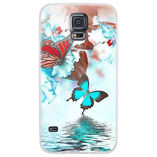 OOH!COLOR 025618_aca014 Tier mit Muster weiche Silikon TPU Bumper-Hülle für Samsung Galaxy S5 G900F klar NFL036