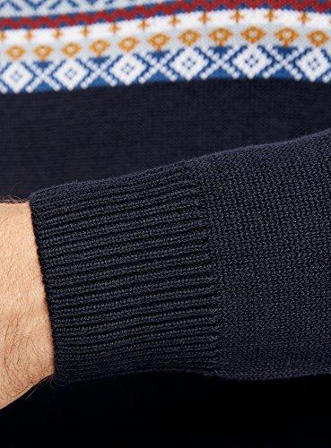 oodji Ultra Herren Pullover mit Kontrast-Jacquard-Muster Blau (7957J)