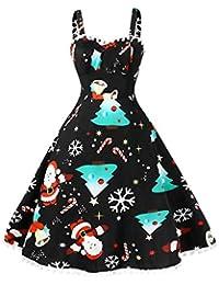 WeihnachtenPartykleider Damen Elegant Weihnachts Kleid Grosse Grössen  Neckholder Rückenfrei Sexy Kleid Vintage Ärmellos Knielang A Linie e58bf06754