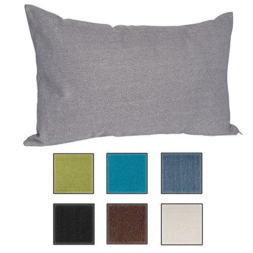salosan Sofakissen, Lounge Rückenkissen, Kopfkissen, Couch- oder Palettenkissen, Dekokissen Strukturpolsterstoff in 7 Unifarben für trendiges Wohndesign. Größe 40x70 cm (Grau)