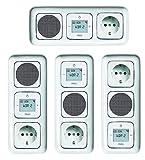 Busch Jäger Unterputz UP Digitalradio 8215 U (8215U) alpinweiß Komplett-Set Reflex SI Lautsprecher + 20EUC-214 Steckdose + Radioeinheit in 3 fach Rahmen integriert