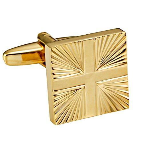 En acier inoxydable 316L Doré brillant Tonique hommes formelles de boutons de manchette avec motif abstrait Croix