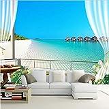 Zybnb 3D Fototapeten Wandmalereien Malediven 3D Stereoskopischen Fenster Balkon Strand Meerblick Hintergrund Wandbild Vliestapete
