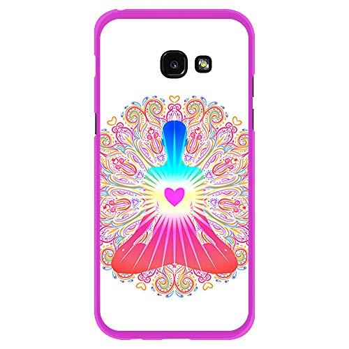BJJ SHOP Rosa Hülle für [ Samsung Galaxy A5 2017 ], Klar Flexible Silikonhülle, Design: Chakra Kunst, Buddhismus, innerer Frieden