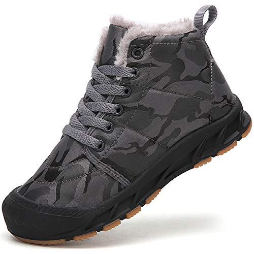 Botas de Invierno para Niño Niña Zapatos de Nieve Botines Calzado Calentar Forrada Boot,Gris,39