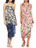 INDIAN FASHION GURU Women's set of 2 beautiful beach wear sarong, pareo, wrap swimsuit cover up
