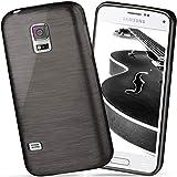 moex Samsung Galaxy S5 Mini | Hülle Silikon Schwarz Brushed Back-Cover TPU Schutzhülle Ultra-Slim Handyhülle für Samsung Galaxy S5 Mini Case Dünn Silikonhülle Rückseite Tasche