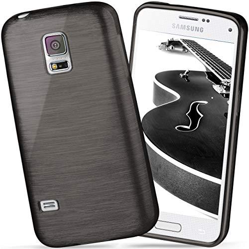 moex Samsung Galaxy S5 Mini   Hülle Silikon Schwarz Brushed Back-Cover TPU Schutzhülle Ultra-Slim Handyhülle für Samsung Galaxy S5 Mini Case Dünn Silikonhülle Rückseite Tasche