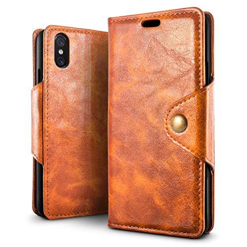 SLEO Funda para Xiaomi Mi 8 Pro Cuero Funda [ Ranuras para Tarjetas] [Cierre Magnético] Soporte Plegable Flip Case Protección De Cuerpo Completo Carcasa Cover