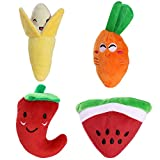UEETEK 4 Packs Pet Dog Squeaky Toys Fruit Vegetable Style Plush Chew Toy Set For Cat Puppy New Year Gift for Pets