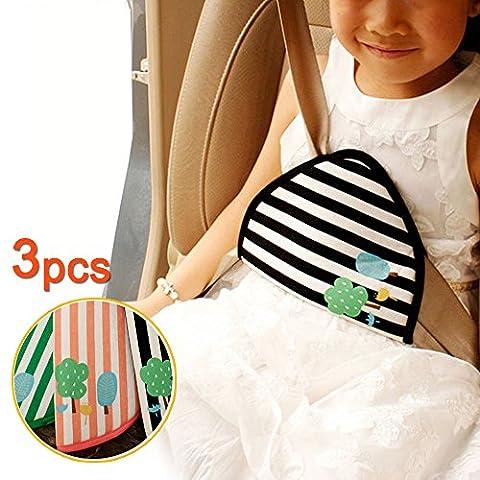 lezed (3pcs) sécurité enfants heits Gur Tanker Régulateur, Protège-ceinture, Accessoires de voiture, dessins animés (Black & Green & Rose)
