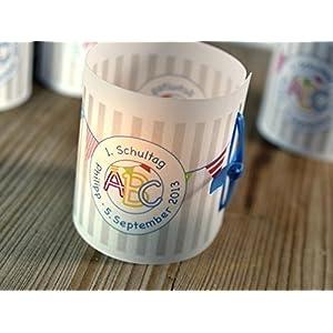 Einschulung Lichthülle personalisiert für Tischlicht Set 8 Stück, Schuleinführung, Schulanfang, 1. Schultag, Schulkind