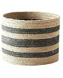 Bhuvan Handloom Jute Planter Pots/Storage Basket with Handle, Multi-Purpose use for Bathroom Living Room 10x12 (Bhuvan_01)