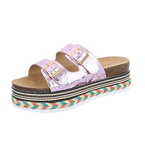 Ital-Design Pantoletten Damen-Schuhe Pantoletten Pantoletten Sandalen & Sandaletten Pink, Gr 40, Hl-805-