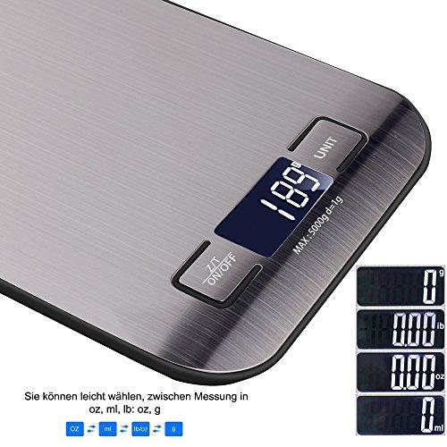 Báscula digital de cocina anbero Industrial Digital Báscula Báscula electrónica  5 kg máximo peso (alta precisión a hasta 1 G)  función de tara  con 5 unidades de pesaje (g  kg  IB  oz  ML) y gran pantalla LCD  incluye batería