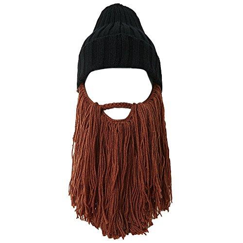 rren Bartmütze Lustige Wolle Mütze mit Abnehmbarem Bart Maske für Karneval Halloween Cosplay Party CC0001 - Brauner Bart (Lustige Halloween Maske)