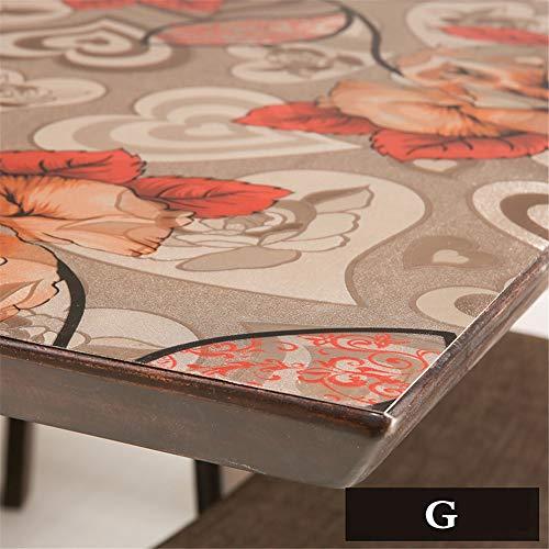 PVC-rechteckiger Tisch Tuch Couchtisch Pad Kissen Leim Pad Weich-Kunststoff-Glas Wasserdicht ölfrei Reinigung Kristall Board Tischdecke-g 90x160cm(35x63inch)