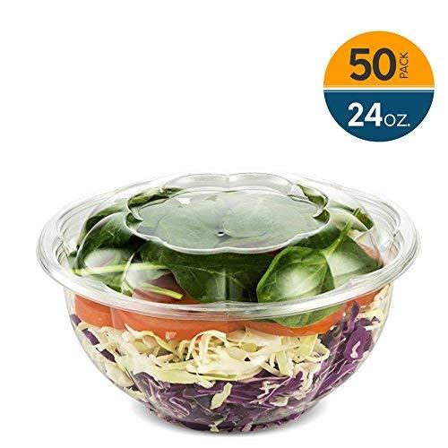 eg Salat Behälter mit Deckel in Bulk für einen frischen luftdichten, tragbar Servieren Schüssel-Set für Mahlzeit Prep & wertvolle Frische 24Unze 50Stück von nyhi Direct ()