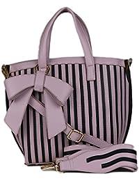 RICKYY Premium PU Women's Handbag With Adjustable Strap Shoulder Bag | Purse For Womens/Girls, Colours - White-Black...