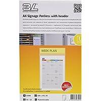 3L 15080 - Pack 10 u bolsas porta anuncios A4 cabecero personalizable