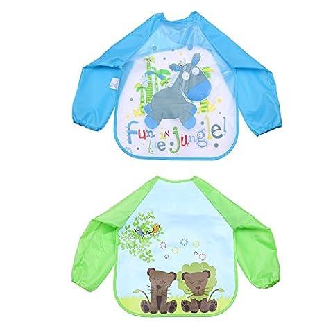 TiaoBug Unisex Infant Baby Waterproof Sleeved Feeding Bibs Kids Nursery Smock Apron Overclothes C Style One