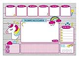 Schreibtischunterlage aus Papier für Kinder & Erwachsene   EINHORN   30 Blatt   Ideal als Notizblock, Organizer, Wochenplaner & Tagesplaner   Papierunterlage zum Abreißen   DIN A3 groß