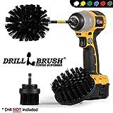 Drillbrush Cucina di pulizia Spazzole Per Kit trapano con Long Reach attaccamento. Tre pezzi Medium Power Scrub Brush Set ultra stiff-nero