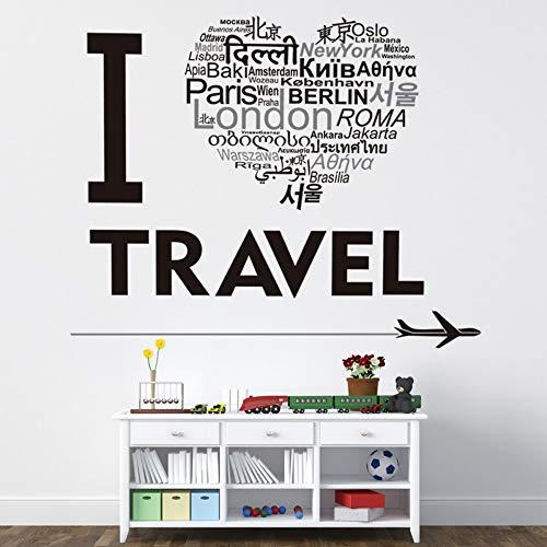 Idolxu Black I Love Reisen Multi-Country Text Wandaufkleber für Schlafzimmer Livin anpassbare Wallpaper -