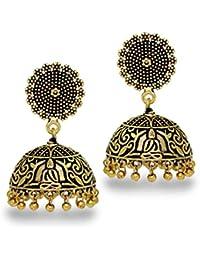 Jaipur Mart Wedding Collection Traditional Oxidised German Gold Plated Handmade Jhumka Jhumki Earrings For Women...