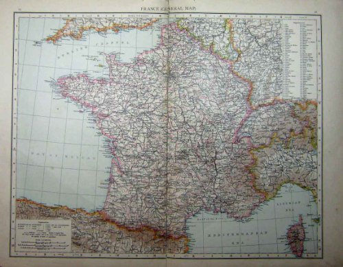 1896 Antike Karte (BORDEAUX 1896 KARTEN-FRANKREICHS KORSIKA PARIS MARSEILLE)