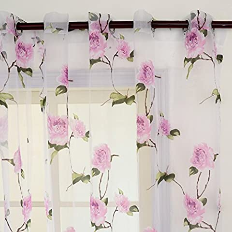 Top Finel cortina transparente de flores violados para ventana paneles 195 CM anchura por 245 CM longitud,con anillas,Solo