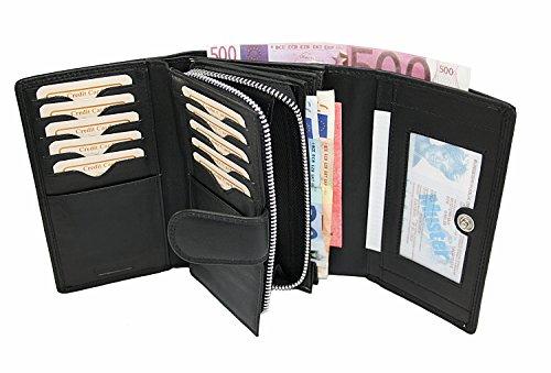 Damengeldbörse , Portafogli  Uomo Multicolore rosso nero