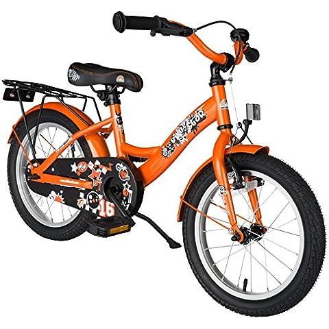bike*star 40.6cm (16 pulgada) Bicicleta para niños - Clásico - Naranja