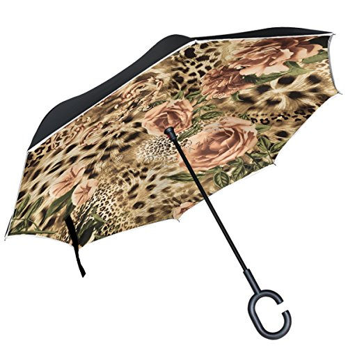 Alaza Leopard Muster Rose Blumen seitenverkehrt Regenschirm Double Layer winddicht Rückseite Regenschirm -