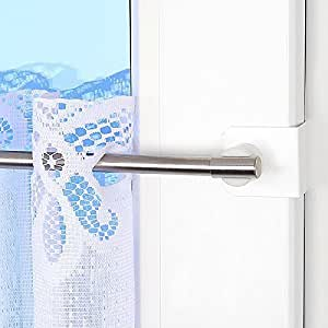 Tringle à rideaux fix-klick élégance 55–80 cm-extensible inox triple pour 20–23 mm tringle télescopique vitrage