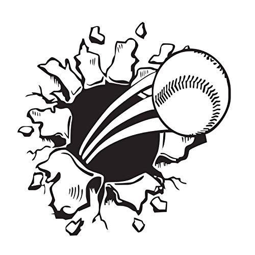 jiushizq Baseball Wandaufkleber Kinderzimmer Vinyl Design Kinder Wandtattoos Wohnkultur Kreative Rushing Ball Aufkleber 59 cm X 59 cm
