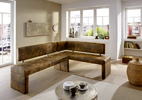 SAM® Esszimmer Eckbank, Sitzbank Lascarlett in Wildlederoptik, mit pflegeleichtem SAMOLUX®-Bezug, 195 x 152 cm, beidseitig aufbaubare Sitzgruppe