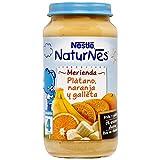 NESTLÉ Purés Merienda, tarrito de puré de fruta y galleta sin gluten, variedad Plátano, Naranja y Galleta, para bebés a partir de 4 meses