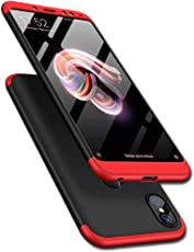 TheGiftKart Full Body 3-In-1 Slim Fit 3D 360 Degree Protection Hybrid Hard Back Cover for Redmi Note 5 Pro (Black and Red)