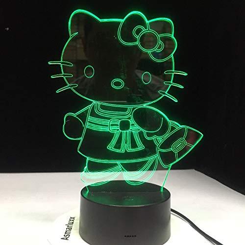 Kitty Mode-taschen (Tasche Kitty Cat 3D Tisch Led Lampe Schalter Oder Aa Batterie Usb Girl Geschenk Schlafzimmer Nachtlicht Multicolors Baby Girl Home Decor Geschenk)